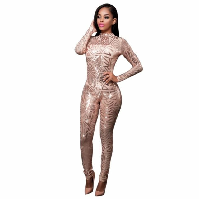 baggy jumpsuit 2016 Women's The explosion of sexy clothing exclusive sequins Jumpsuit Club women Jumpsuit tight bandage bodysuit