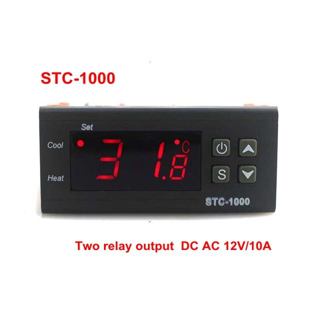 DC AC 12V/10A Two Relay Output Digital Temperature Controller STC-1000 Thermostat -50~99C with 1m Sensor