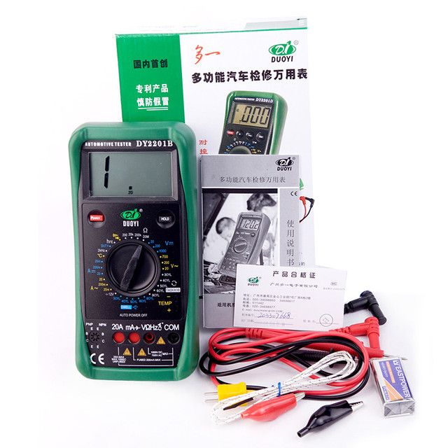 DY2201B motor speed 500 RPM - 10000 RPM multimeter with Car Battery Tester Automotive repair special Diode  Duty Cycle Test