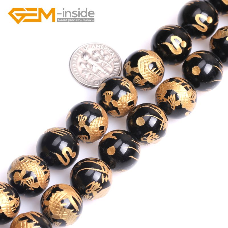 10mm-14mm Round Carved Dragon White Tiger Phenix Black Tortoise Black Agates Onyx Gem Stones Beads For Jewelry Making DIY 15""