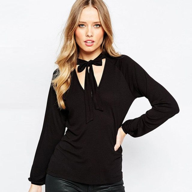 Tie neck blouse pussy bow front shirt in black long sleeve blouse plus size clothing WD779