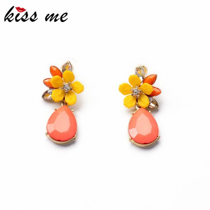 KISS ME Jewelry 2017 Graceful Pink Water Drop Yellow Resin Flower Earrings for Women Fashion Drop Earrings Accessories