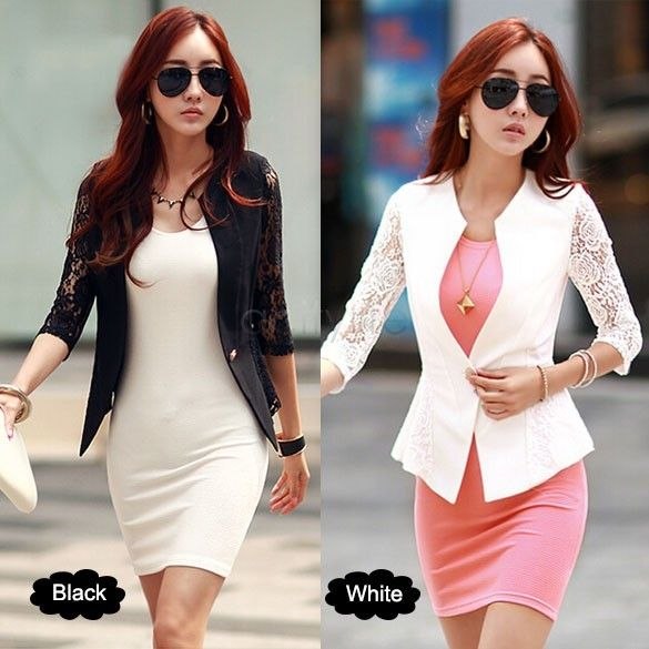 Women's Slim Jacket 2015 Spring Summer Coat Lace Sleeve Jacket Women Casual Clothing 12