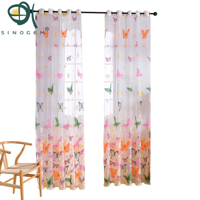 Sinogem Brand Finished Butterfly Tulle for Window Curtain Voile Sheer Curtains for Living Room Bedroom Window Screening Drapes