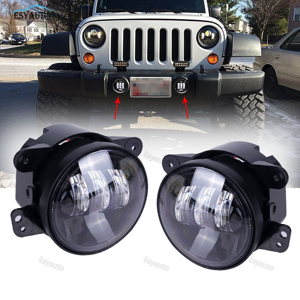 "2PCS 4"" LED Fog Light Headlight 4 inch 30W Front Bumper LED Fog Lamp Headlamp Assembly for Jeep Wrangler TJ JK 07-16"