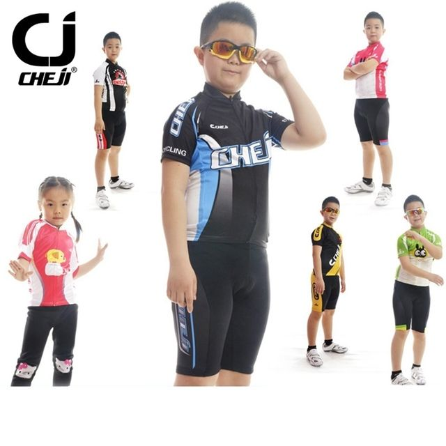 CHEJI Children Cycling Clothing Boys Girls Cycling Bike Jersey Shorts Sets Team Bicycle ciclismo Kids mtb Shirts Cycling Suits