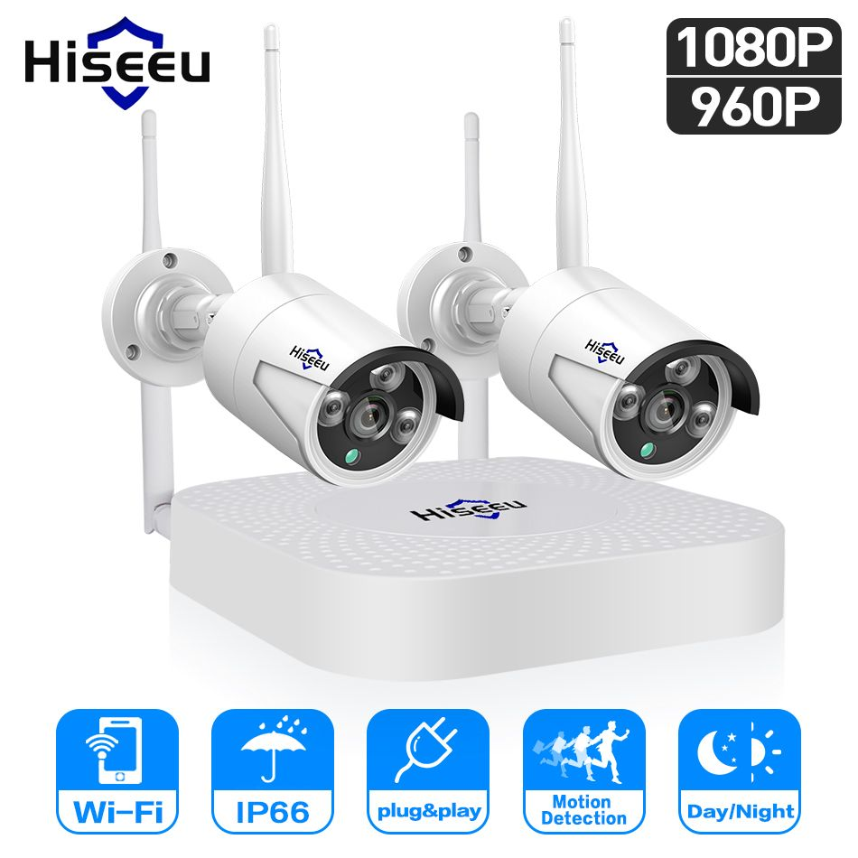 Hiseeu wifi home security camera system wifi 4CH 1080P CCTV NVR Kit 2pcs 960P/1080P wireless video surveillance IP camera system