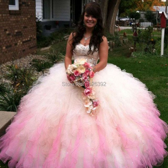 Hot Sale Pink Strapless Crystals Ball Gowns Quinceanera Dress Girls Sweet 16/15 Years Birthday Party Gowns