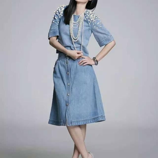 Top Quality New 2015 Celebrity Inspired Fashion Skirt Set Women Pearl Beads Denim Blouse+Mid-Calf Length Casual Jean Skirt(1Set)