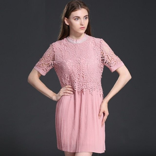 Plus Size 2016 Summer New Women Mini Dress Short Sleeve Lace Dresses High Quality European Style Loose Pleated Dress DR147