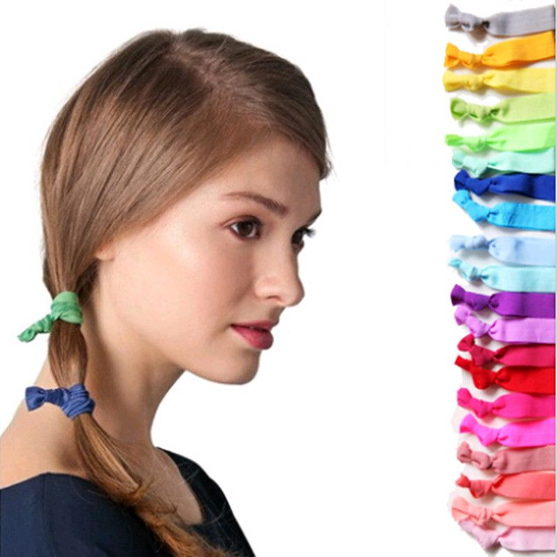 100 Pcs/lot Wholesale Candy Color Ponytail Holders twist yoga Ribbon Elastic Bands/ Hair Ties Hair Accessories 15colors TD101