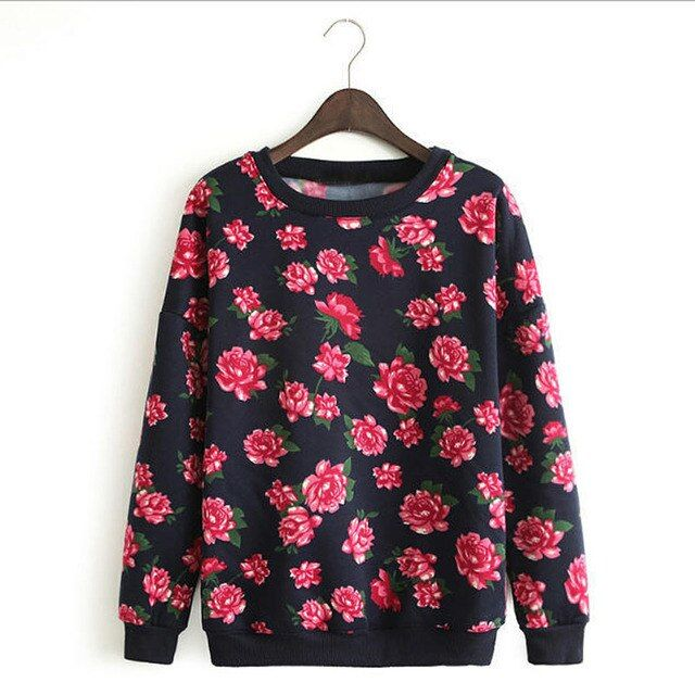 Harajuku Vintage Women Sweatshirt Autumn Long Sleeve Floral Print Casual Pullover Sweatshirts New Womens Clothings