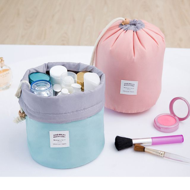 High Quality Barrel Shaped Travel Cosmetic Bag Makeup bag Nylon Wash Bags Makeup Organizer Storage Bag High Capacity B3
