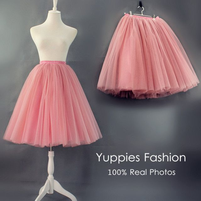 Yuppies Fashion 7 Layers Midi Tulle Skirt American Apparel Quality Tutu Skirts Womens Petticoat 2016 Autumn faldas saia jupe