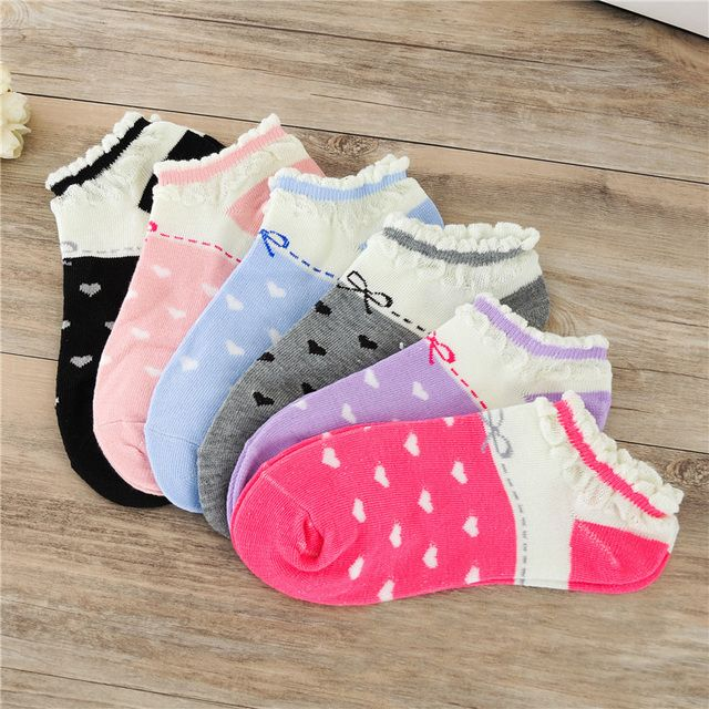 Hot Sale New Spring Summer Boat Sock Lace Shallow Mouth Heart-shaped Grain Cool Breathable Socks For Women Girls Free Shipping