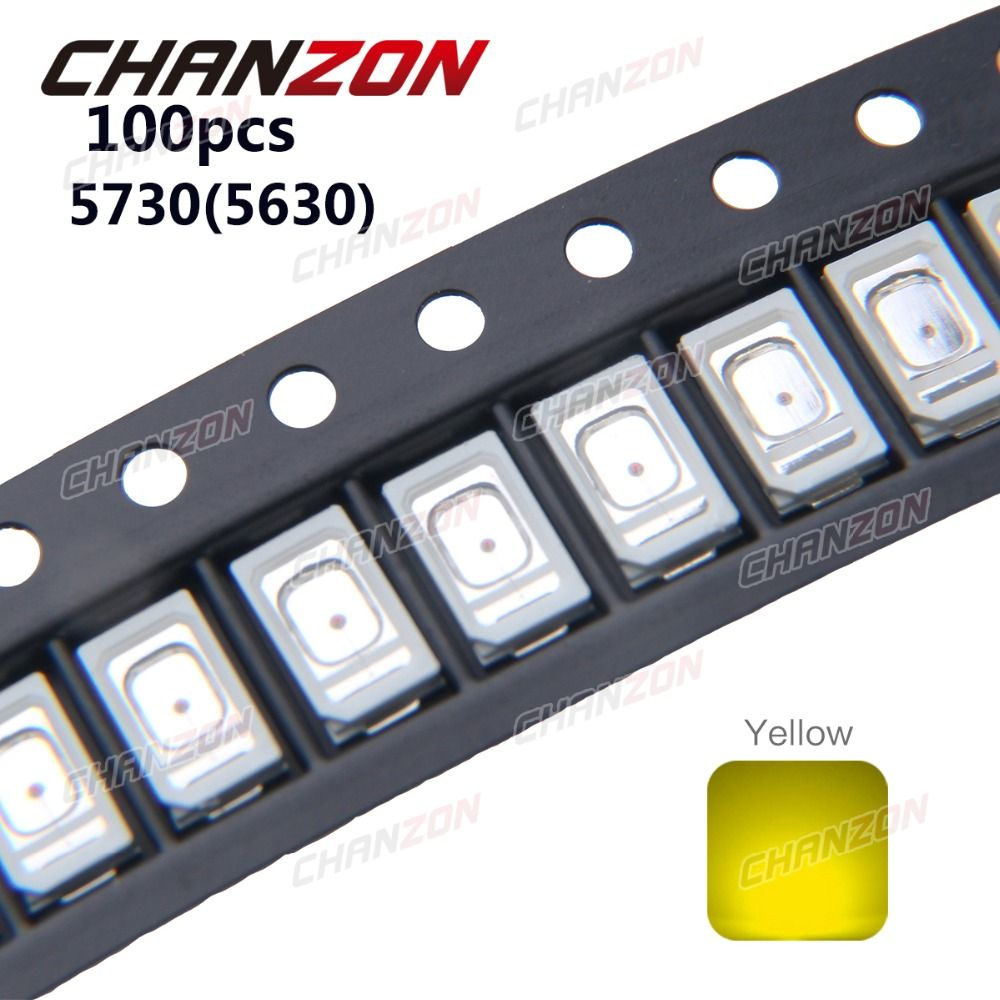 100pcs SMD Chip 5730 5630 LED Yellow Surface Mount 0.2W 60mA DC 2V Beads Light Emitting Diode LED Lamp 0.2 W Ultra Bright Bulb
