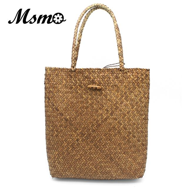 MSMO 2017 New Summer Shoulder Bag Beach Large Straw Bags Handmade Woven Tote Designer Vintage Shopping HandBags Basket Bag
