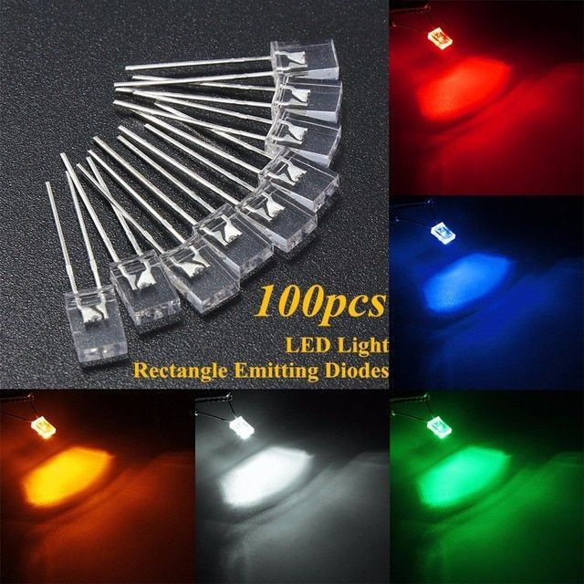 Best Promotion 100pcs 2x5x7mm Rectangular Square LED Emitting Diodes Light LEDs Bulbs Water Clear White/Yellow/Red/Blue/Green