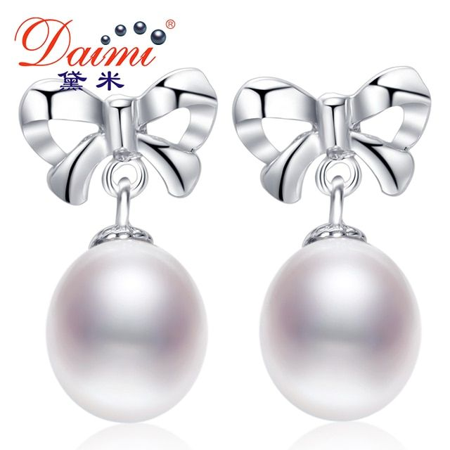 Daimi Cultured Pearl Earrings, 100% Genuine Brand Pearl Jewelry 9MM Natural Pearl Bowknot Earrings Silver Earrings