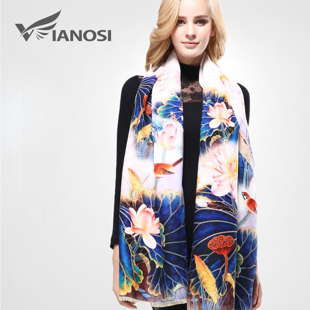 [VIANOSI] Winter Scarf Thicken Warm Soft Shawls and Scarves for Women Digital Printing Wool Cashmere Scarf Woman Wrap VA074