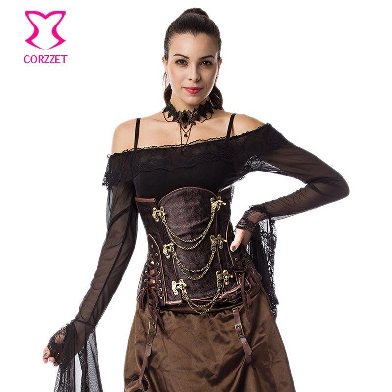 6XL Brown Steel Bone Waist Trainer Plus Size Corset Underbust Espartilhos E Corpetes Corsets And Bustiers Gothic Clothing Women
