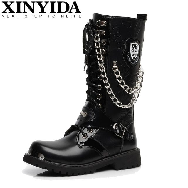 British Style High Quality Pu Leather Men Boots High-top Fashion Punk  Martin Shoes Men Ankle Botas Motorcycle Boots Size 37-44