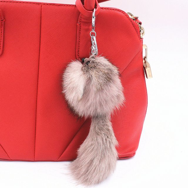 Lovely Fox Rabbit Fur Ball Fluffy Key Chains Rings  Hotsale Bag Pendant Keyrings Key Chains For Wome
