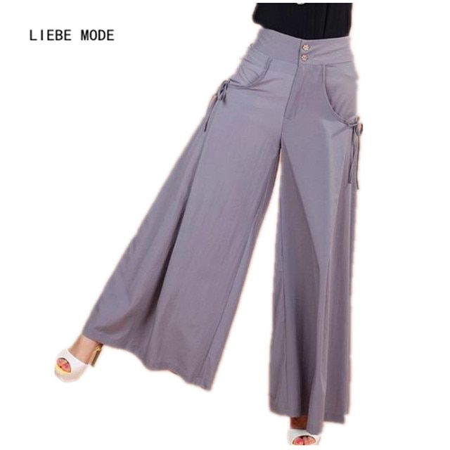 2016 Summer Culottes Wide Leg Pants Women Skirt Palazzo Pants Women Plus Size Capris High Waist Loose Flared Trousers