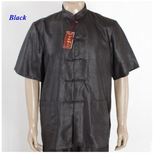 100% wateredgauze silk male black shirt,pure silk Chinese traditional short-sleeve tang suit,silk standing collar men shirt