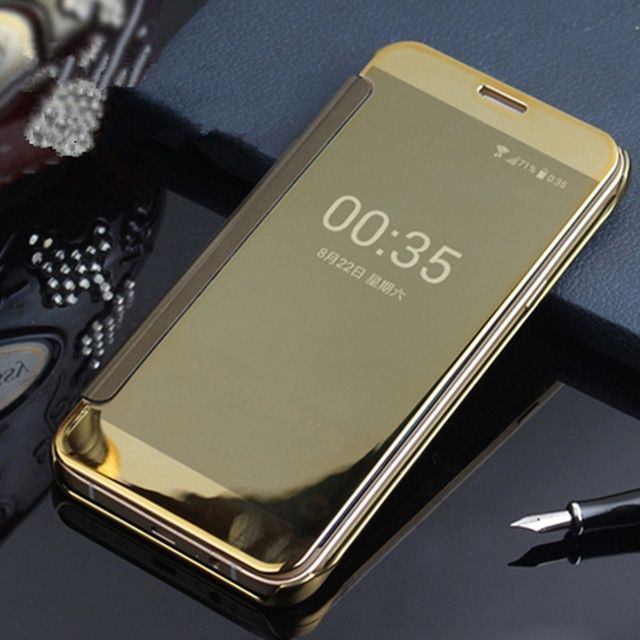 Flip Mirror Case For Samsung A7 2017 A720F Clear View PU Leather Cover Hard PC Back Cover For Samsung Galaxy A7 A720 Capa Hoesje