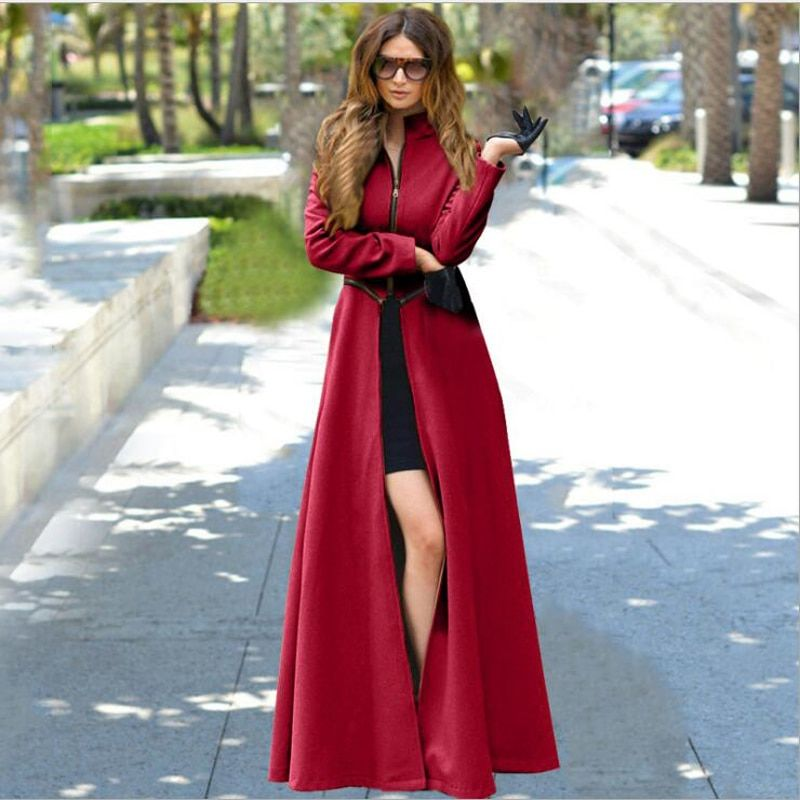 Slim Red Coat 2016 Autumn Winter Fashion Elegance Women Cashmere Zipper Wool Blend Long Coat Female Casaco Feminino