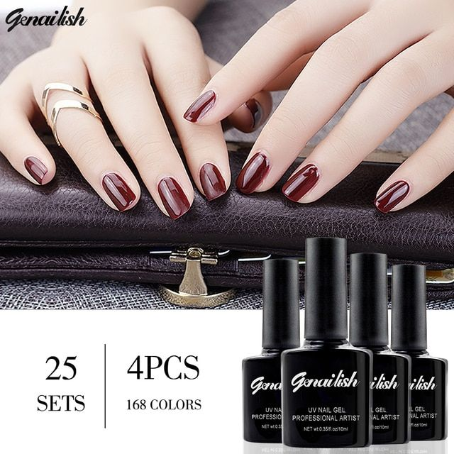 genailish 4 Colors/set Nail Gel Nail Polish UV Gel Polish Long-lasting Soak-off LED UV Gel Nail Lacquers Nail Art Tools-SGB4