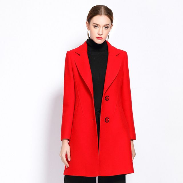 XUANYINGLU 2016 New Winter Coats Women High-end fashion brand Long sleeves lapel Solid color Long section Thickening Wool Blends