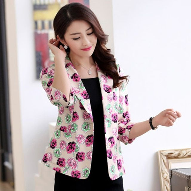2017 Spring Floral Blazer Women Plus Size Elegant Jackets Female Blazer Feminino Manga Longa Womens Suits Office Jacket 50N0382