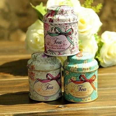 AIBEI-ZAKKA Printing Flower Tin Box 3PCS/LOT Creative Vintage Iron Tea Pot Home Storage Boxes Mini Cute tin Can