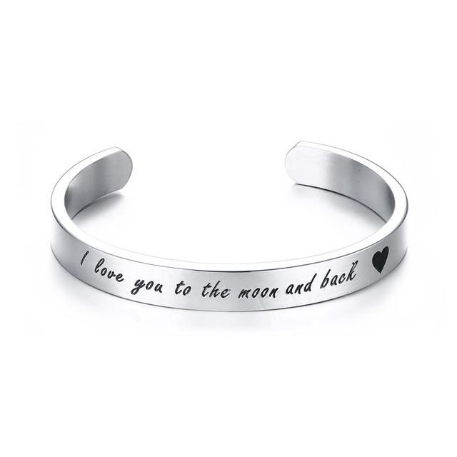 "Mprainbow Mens Bracelets Stainless Steel Wrist Band Cuff  Bracelet  ""I Love You to the Moon and Back""Promise Unisex Jewelry Gift"