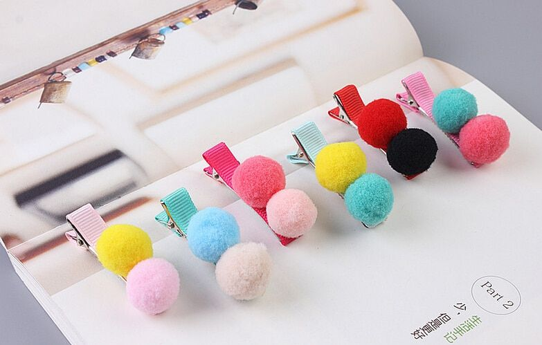 New arrival 4pcs children lovely candy color ball Hair Pin baby girl cute BB Clip Hairpins Hair Side Clips