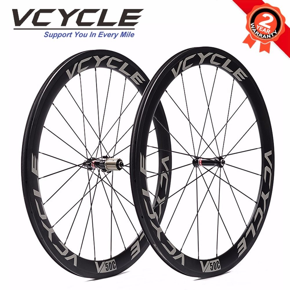 VCYCLE 50mm Carbon Clincher Wheelset Straight Pull Wheels Novatec Hub for 700C Road Bike Carbon