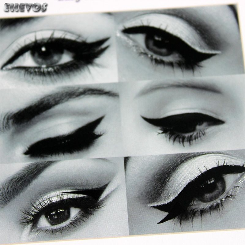 High Quality 6 in 1 eyebrow Stencils Eyeliner Template Smoky Makeup Guide Cat Eye Liner Quick Tool