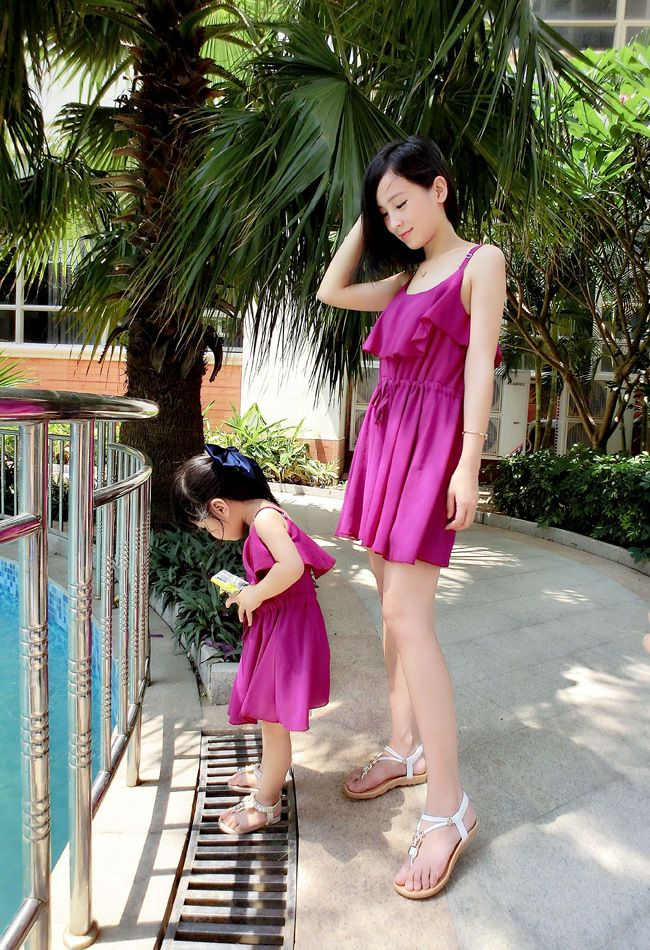 2018 Brand New Summer Matching Family Chiffon Dress Mom And Daughter  Beach Frill Bodycon Family Matching Outfits Dress Hot Sale