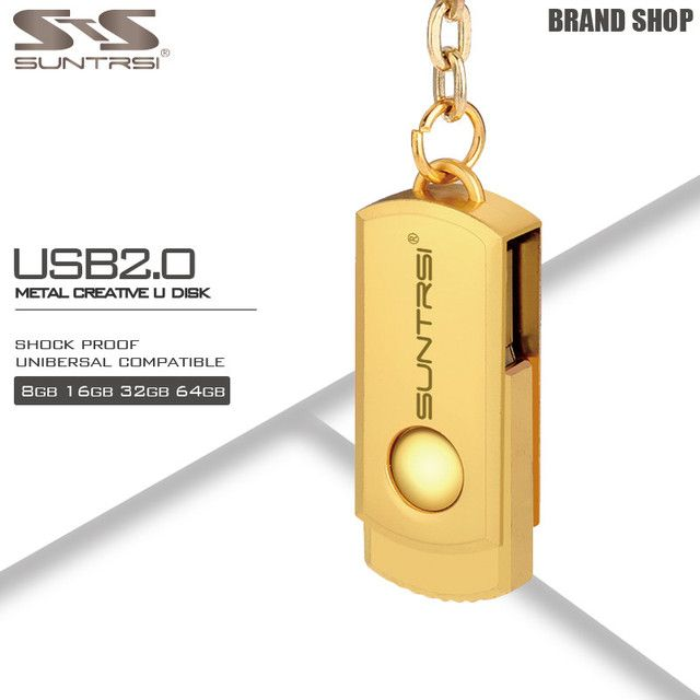 Suntrsi Pendrive 64GB Metal Key Chain USB Flash Drive 64GB Custom Logo Pen Drive High Speed USB Stick Real Capacity USB Flash