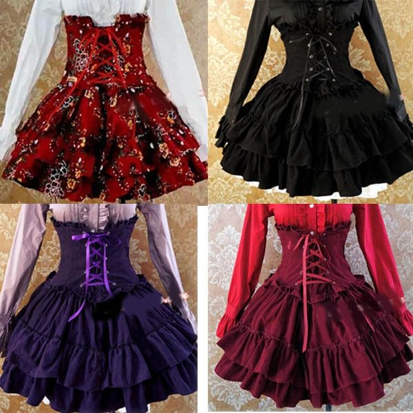 Ladies Victorian Lolita Gothic Barbie Palace High-waisted Thin Princess Skirt