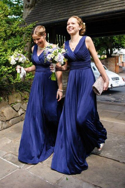 Wedding party dress 2017 Chiffon V neck bridesmaid dress floor length Blue&Pink girl long dress vestidos de fiesta largos plus