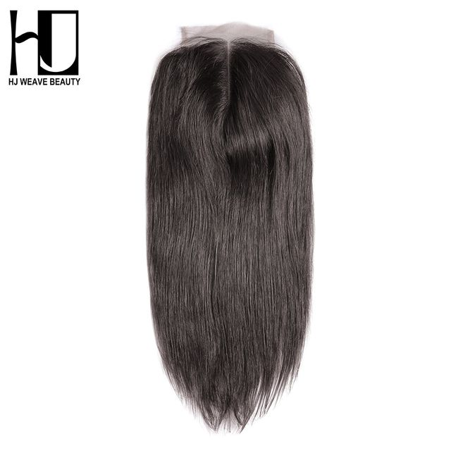 HJ WEAVE BEAUTY Brazilian Lace Closure Straight Remy Hair Natural Color 100% Human Hair Middle Part 4''x 4'' Free Shipping