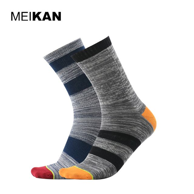 MEIKAN Men Cotton Stripe Sport Socks Running Cycling Socks MEIKAN Brand Gray Compression Sport Socks Chaussettes Homme 2Pair/lot