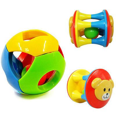 6M-1Year 2pcs Baby Toy Fun Little Loud Jingle Ball Ring jingle Develop Baby Intelligence Training Grasping ability Toy NEW
