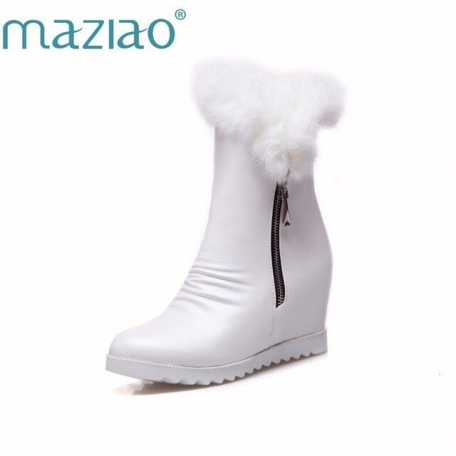 MAZIAO Airfour Mid-calf Boots  Woman Winter High Heels Snow Boots White Shoes Large Size 34-43 Zippers Round Toe Platform Boots