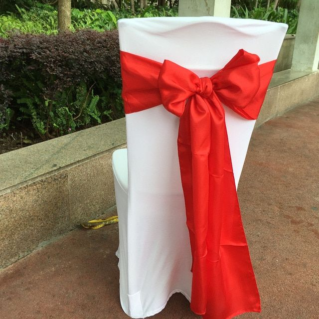 "Pack of 50 Red Color 6""x108"" Chair Bands Satin Chair Sashes Bow Wedding Banquet Supply Decoration By DHL"