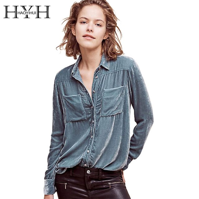HYH HAOYIHUI Solid Blue Women Blouse Turn-down Collar Long Sleeve Single Breasted Tops Pocket Casual Slim Sexy Velvet Blouse