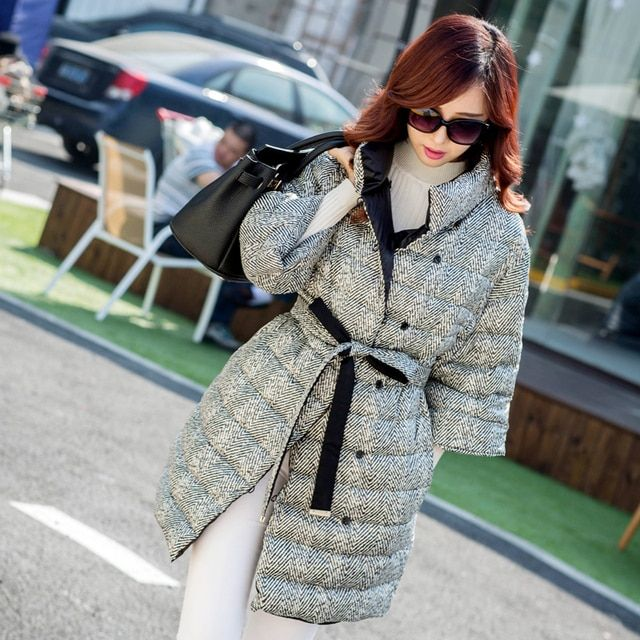 2016 new fashion woman thick autumn winter plaid long belt button stand collar half sleeve outwear jacket ladies coat